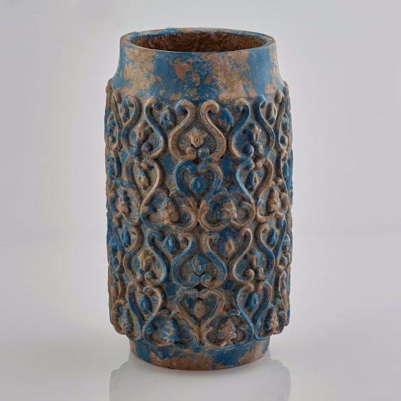 Vaso blu di terracotta Decor H40: vasi design EDG