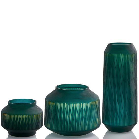 Vaso blu - verde: vasi in vetro satinato design EDG