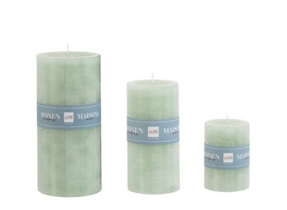 Candele verdi (verde menta) cilindriche: candele di cera colorate J Line