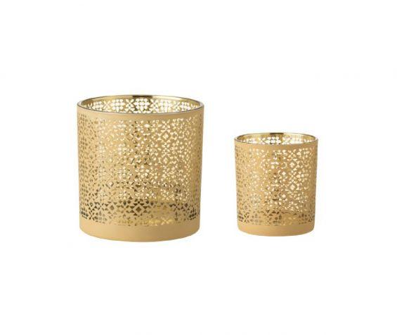 Portacandela in vetro motivo oro