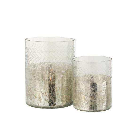Portacandela Classico Cilindro in vetro screziato Argento/Trasparente