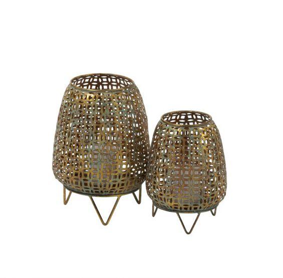 Lanterna in metallo oro anticato