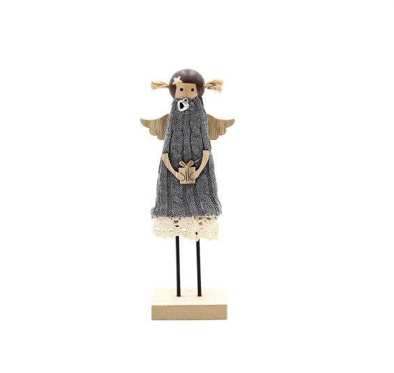 Decorazione Angelo in legno con abito di lana e pizzo H20