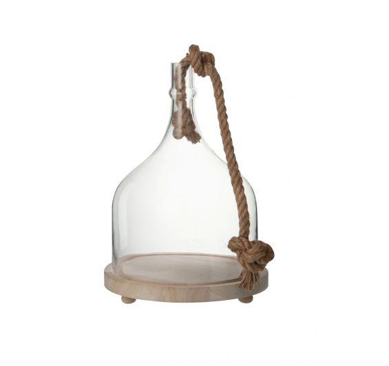 Campana in vetro trasparente con corda su base di legno