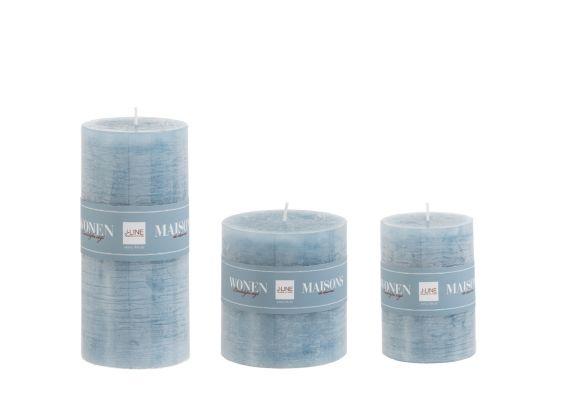 Candele blu cilindriche: candele di cera colorate J Line