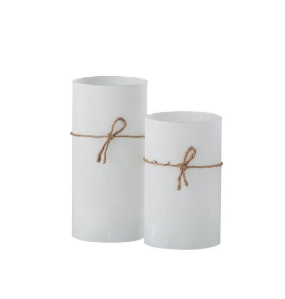 Cilindro porta tealight in vetro satinato bianco