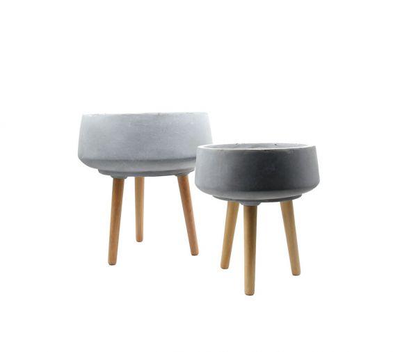 Vaso ciotola in cemento e resina su piedi in legno