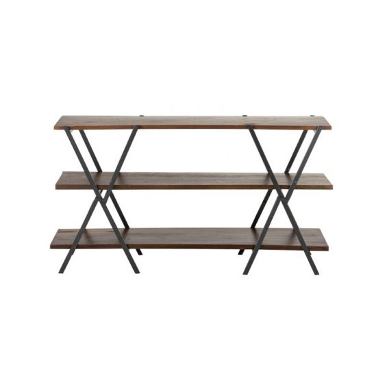 Consolle X : Consolle in legno e ferro Vintage Marrone/Nero