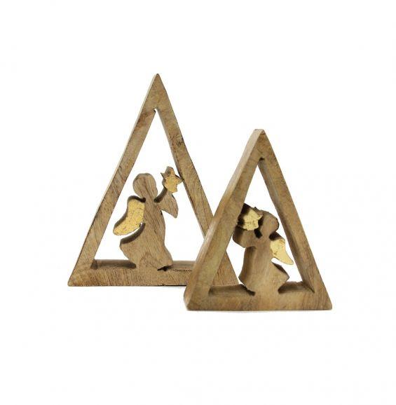 Angelo in triangolo di legno naturale : Decorazioni natalizie in legno