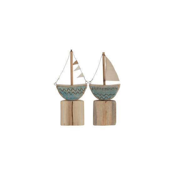 Set decoro barca su piede in legno naturale di colore blu CM 13X4,5XH30
