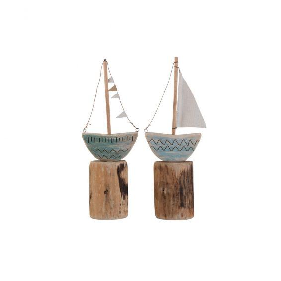 Set decoro barca su piede in legno naturale di colore blu CM16X5XH45,5
