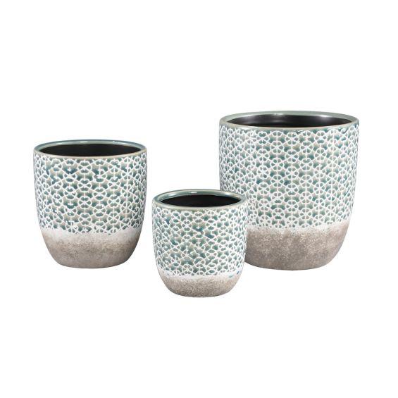 Vaso Iggy Flower   Vaso in ceramica doppio colore motivi a fiori