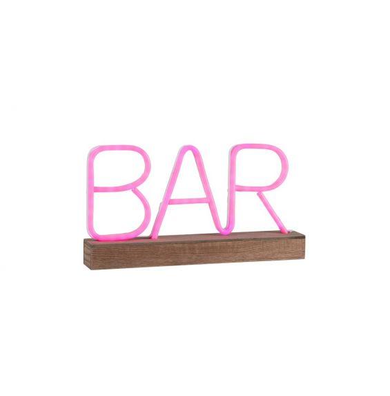 Lampada decorativa neon LED scritta Bar rosa