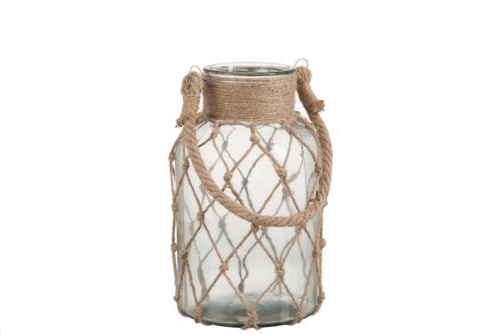 Lanterna Mare: lanterne portacandele in vetro e corda J Line