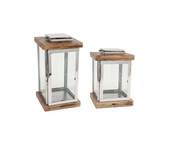 Lanterna in acciaio legno massello e vetro PTMD