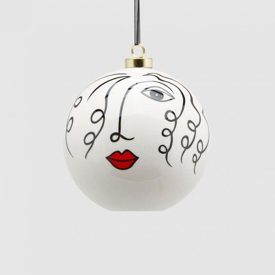 Palla Viso D11 : Pallina di Natale viso femminile in ceramica