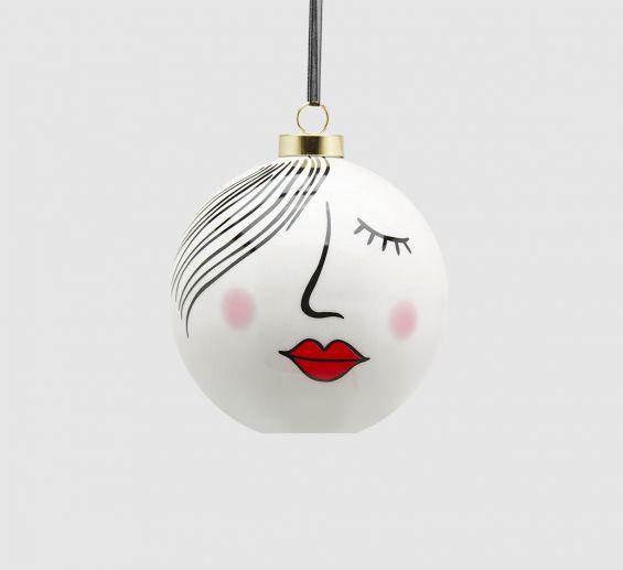 Palla Viso D9 : Pallina di Natale viso femminile in ceramica
