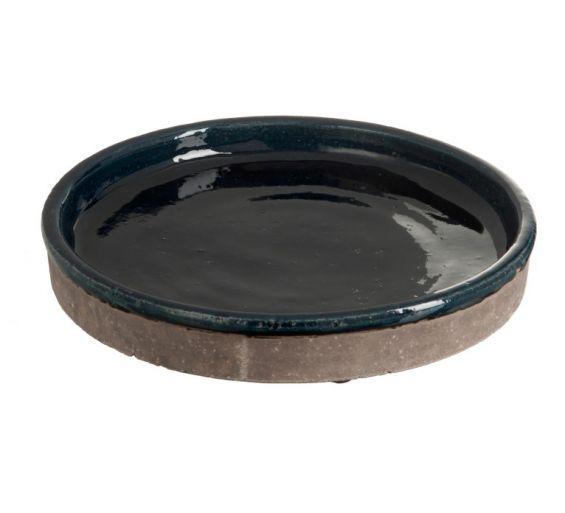 Piatto centrotavola in ceramica color grigio-blu