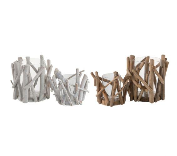 Portacandela Rami: Portacandele legno e vetro J-Line