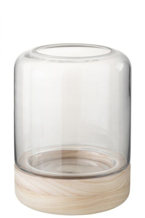Portacandele in vetro trasparente su base in legno