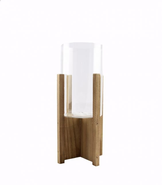 Portacandela Wood H41: portacandele legno e vetro EDG Enzo De Gasperi