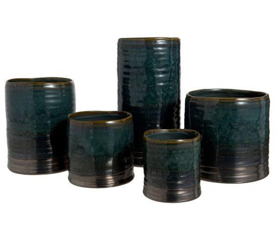 Portavasi Ceramica con bordo blu-marrone : Portavasi in ceramica di design