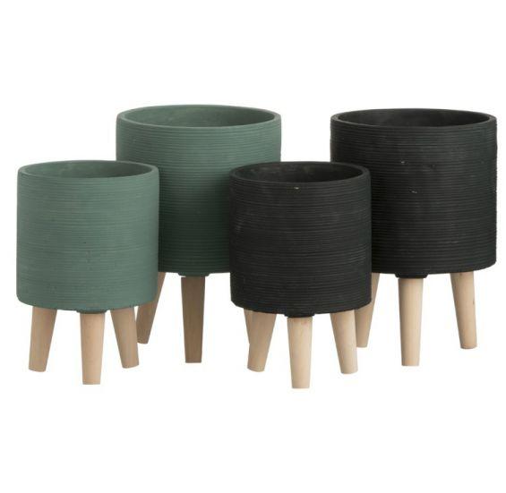 Portavaso Zampa in Cemento: Vaso di design in cemento su piedini in Legno