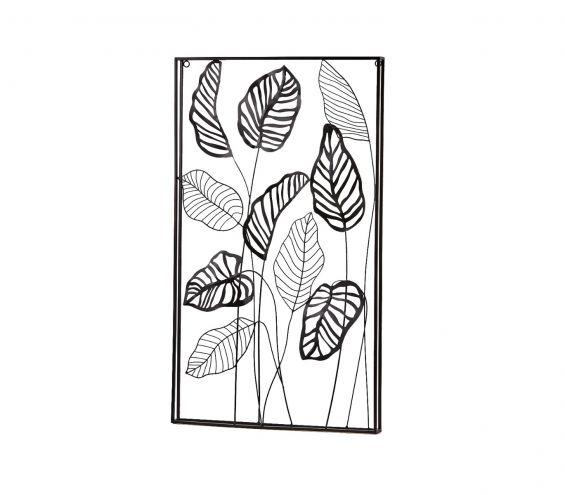 Quadro foglie metallo Nero Verticale H81x47