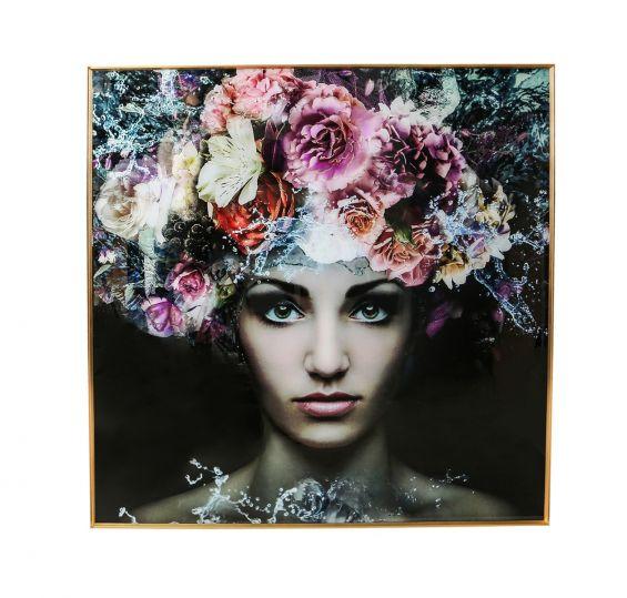 Quadro Melani Art Donna in Fiore | Quadro in vetro temperato con cornice in alluminio