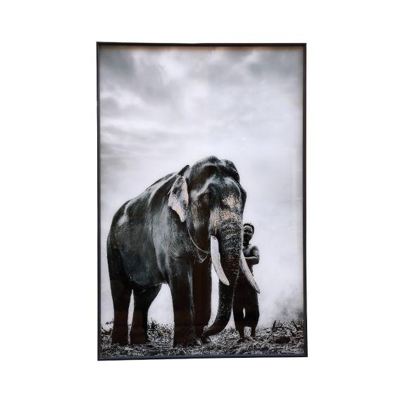 Quadro Melani Art Elefante con Uomo| Quadro in vetro temperato con cornice in alluminio