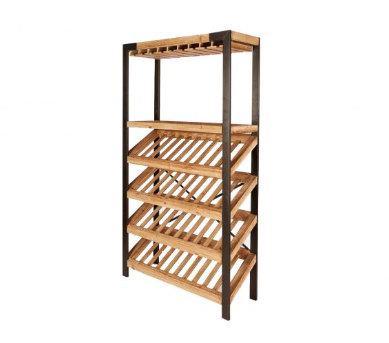 Scaffale Portabottiglie e Bicchieri : Scaffale stile industriale in Legno e Metallo