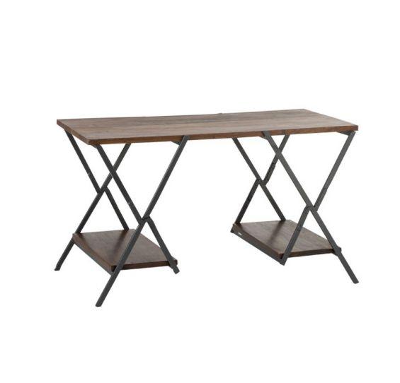 Scrivania X : Scrivania legno e ferro Vintage Marrone/Nero