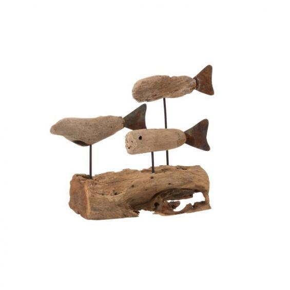 Scultura 3 pesci su base tronco in legno naturale
