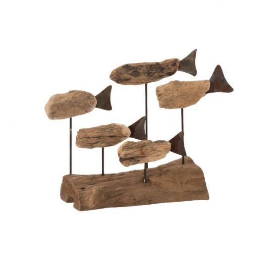Scultura 5 pesci su base tronco in legno naturale