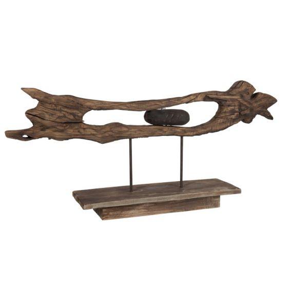 Scultura astratta decorativa in legno di salice
