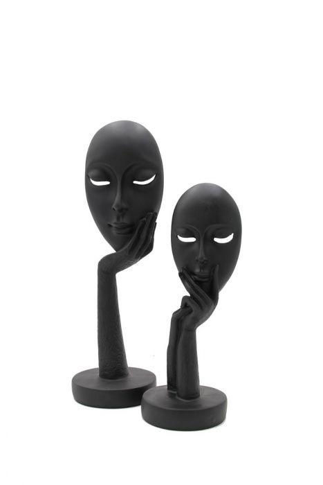 Scultura Maschera Nera su Mani | Sculture Moderne di Design