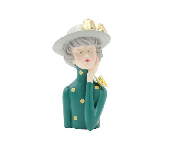Scultura Mezzo Busto Donna con Cappello Portafiori