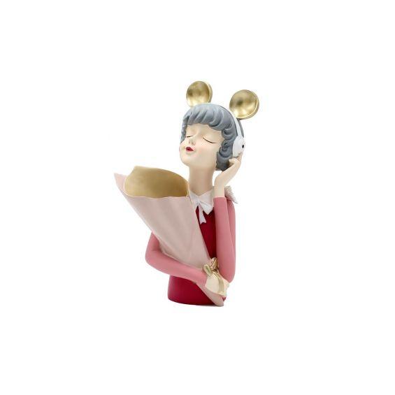 Scultura Mezzo Busto Donna Portafiori con Cuffie