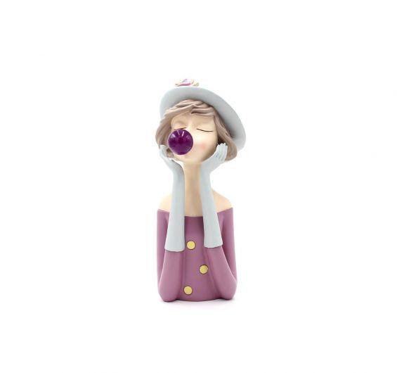 Scultura Mezzo Busto Donna con Palloncino Chewing Gum LED