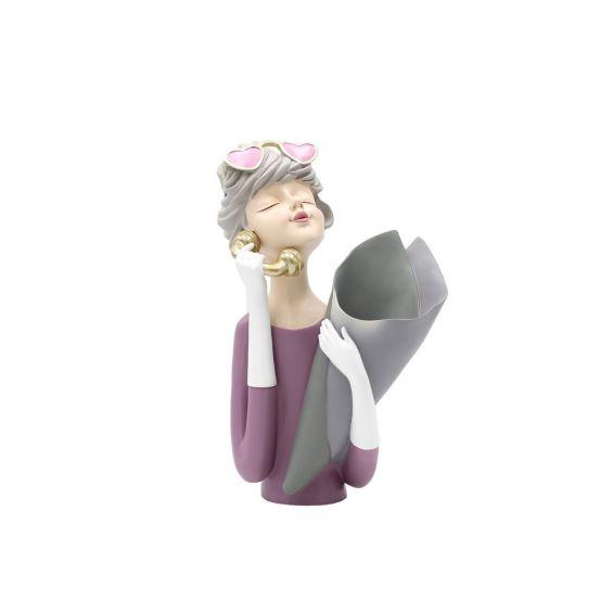 Scultura Mezzo Busto Donna Portafiori con Cornetta Telefono