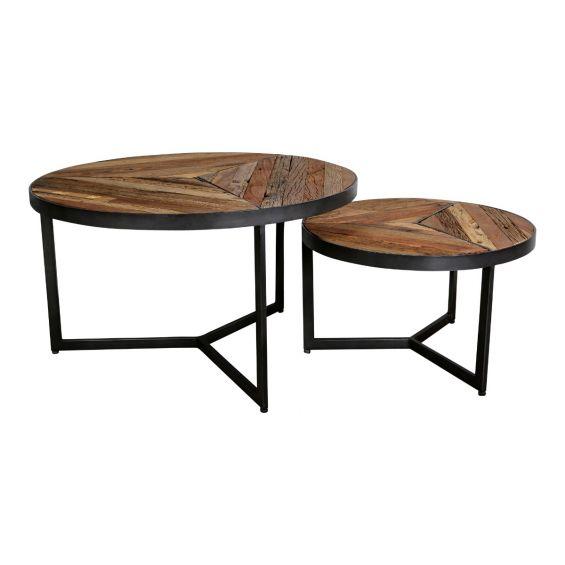 Danyon   Set 2Pz tavolini da caffè in legno riciclato e ferro