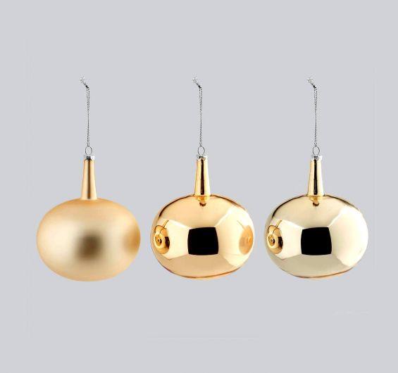 Palla Vetro Neck D8 Set 3 colori assortiti : Palline di Natale in vetro oro
