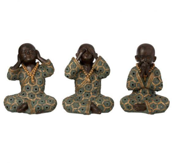 Set 3 statuette monaci zen non sento, non vedo, non parlo H21
