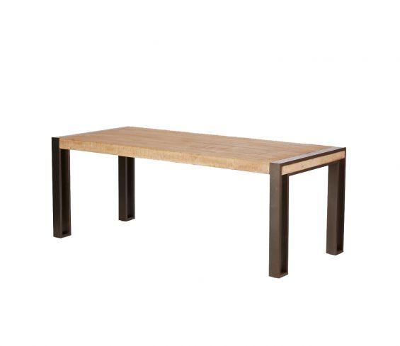 Tavolo Kurtis : Tavolo stile industriale in legno massello e ferro