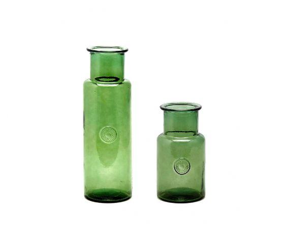 Vaso Cilindro in vetro riciclato verde H46