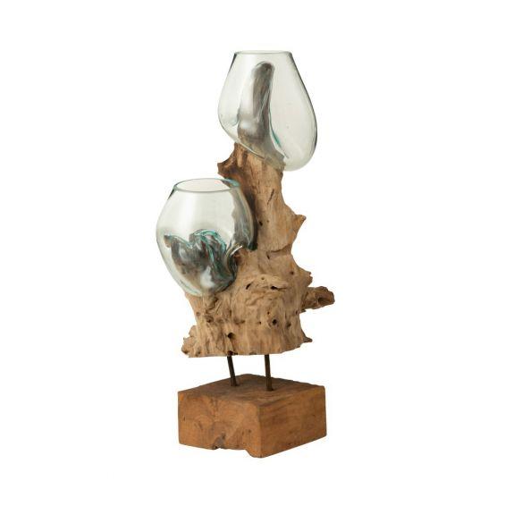 Vasi in vetro fuso riciclato su tronco di legno naturale con piedistallo in ferro H54
