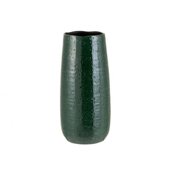 Vaso Motivo H40 : vaso alto in ceramica smaltata di colore verde