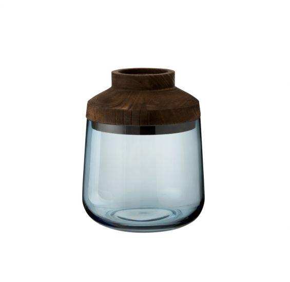 Vaso Tweede H25 : vasi di design in vetro e legno