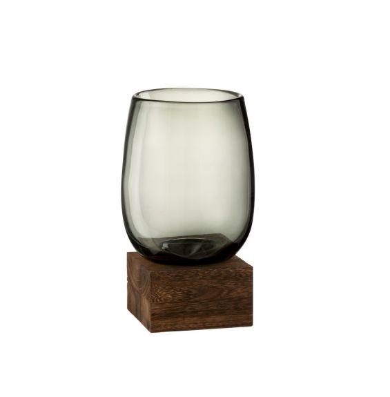 Vaso in vetro su base quadrata di legno H26