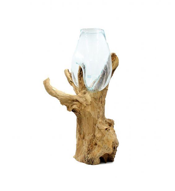 Vaso in vetro fuso riciclato su legno naturale H80
